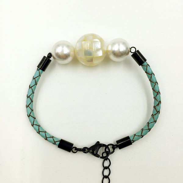 White Pearl White Mother of Pearl Bead on Turquoise Leather,  - MRNEIO LLC