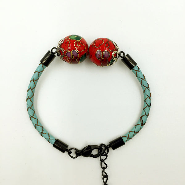 Twin Red Beads on Turquoise Leather,  - MRNEIO LLC