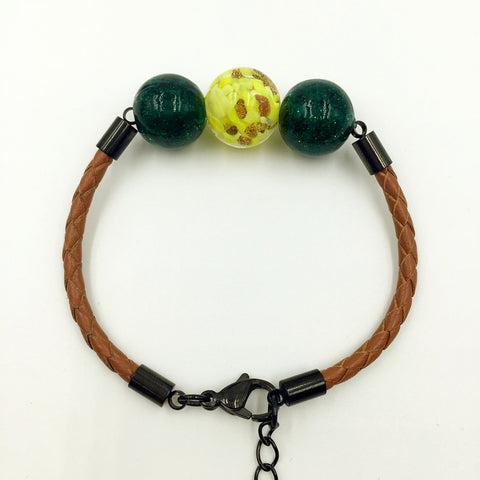 Triple Gold Leaf Yellow and Dark Green Beads on Yellow Brown Leather,  - MRNEIO LLC