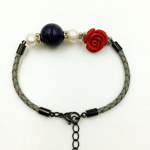 Faux Navy Blue Gemstone, pearl and Flower Deco on Grey Leather,  - MRNEIO LLC