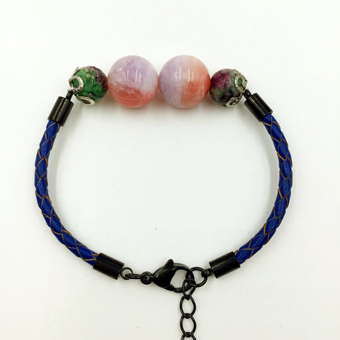 Faux Purple/Rose and Purple/Green Gemstones on Navy Blue Leather,  - MRNEIO LLC