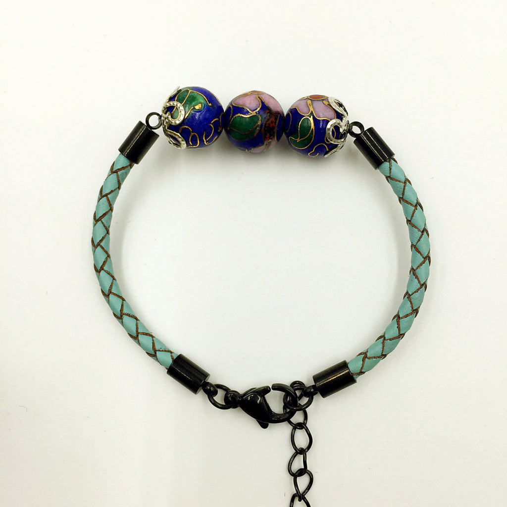 Triple Navy Blue Beads on Turquoise Leather,  - MRNEIO LLC