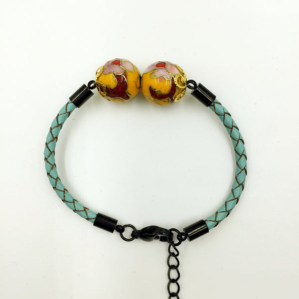 Twin Golden Yellow Beads on Turquoise Leather