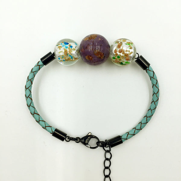 Triple Gold Leaf Purple and White Beads on Turquoise Leather,  - MRNEIO LLC