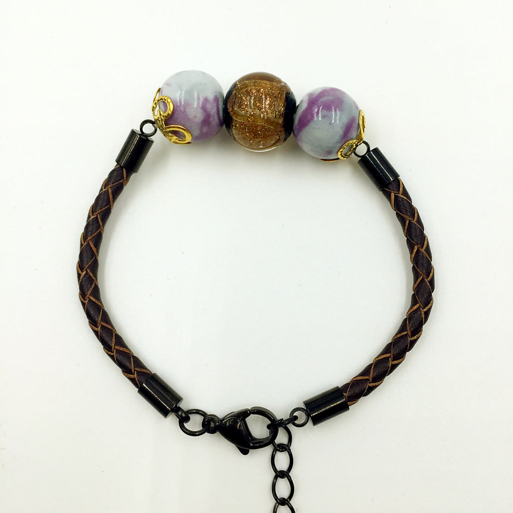 Triple Brown and Gemstone Beads on Brown Leather,  - MRNEIO LLC