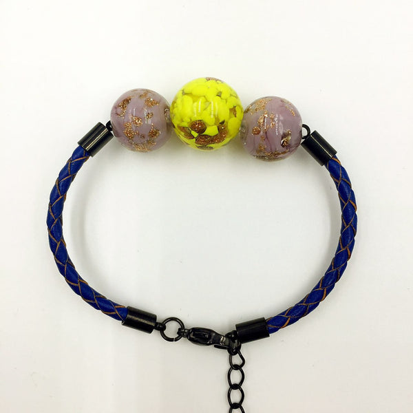 Triple Gold Leaf Yellow and Purple Beads on Navy Blue Leather,  - MRNEIO LLC