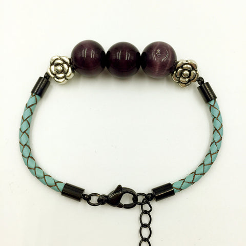 Faux Black Purple Gemstones on Turquoise Leather,  - MRNEIO LLC