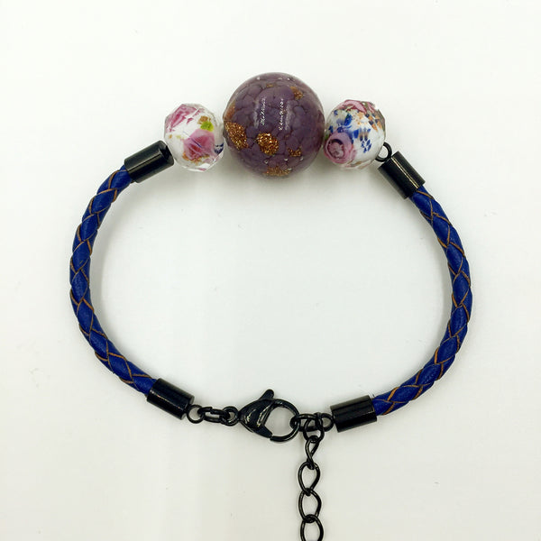 Triple Gold Leaf Purple and Flower White Beads on Navy Blue Leather,  - MRNEIO LLC