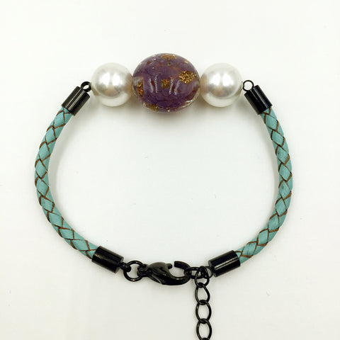 White Pearl Gold Leaf Purple Bead on Turquoise Leather