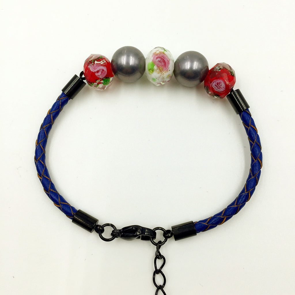 Black Pearl White and Red Beads on Navy Blue Leather,  - MRNEIO LLC