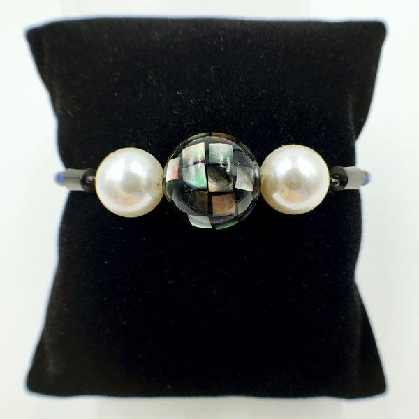 White Pearl Black Mother of Pearl Bead on Navy Blue Leather,  - MRNEIO LLC