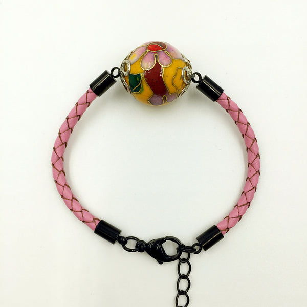 Single Golden Yellow Bead on Pink Leather,  - MRNEIO LLC