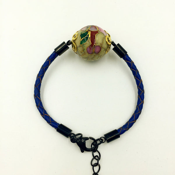 Single Moon Yellow Bead on Navy Blue Leather,  - MRNEIO LLC