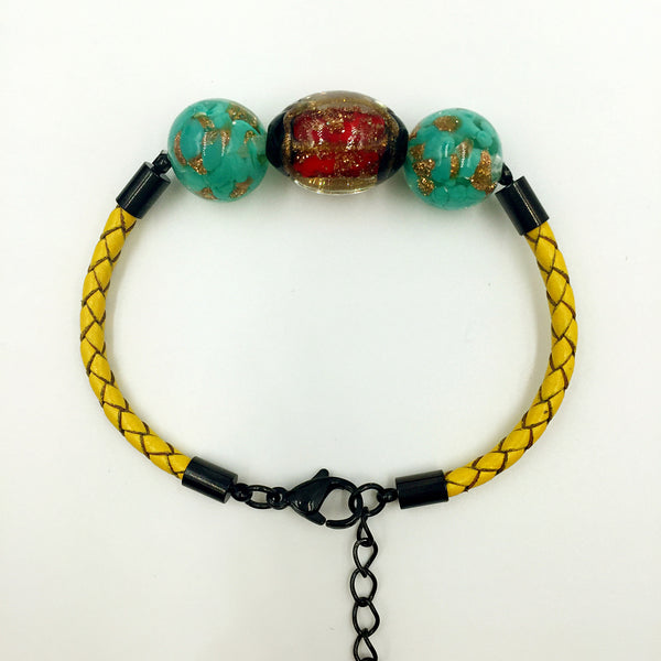 Triple Stellar Red and Gold Leaf Green Beads on Yellow Leather,  - MRNEIO LLC