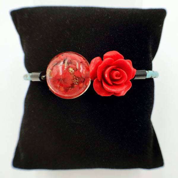 Flower Deco Red Bead on Turquoise Leather,  - MRNEIO LLC
