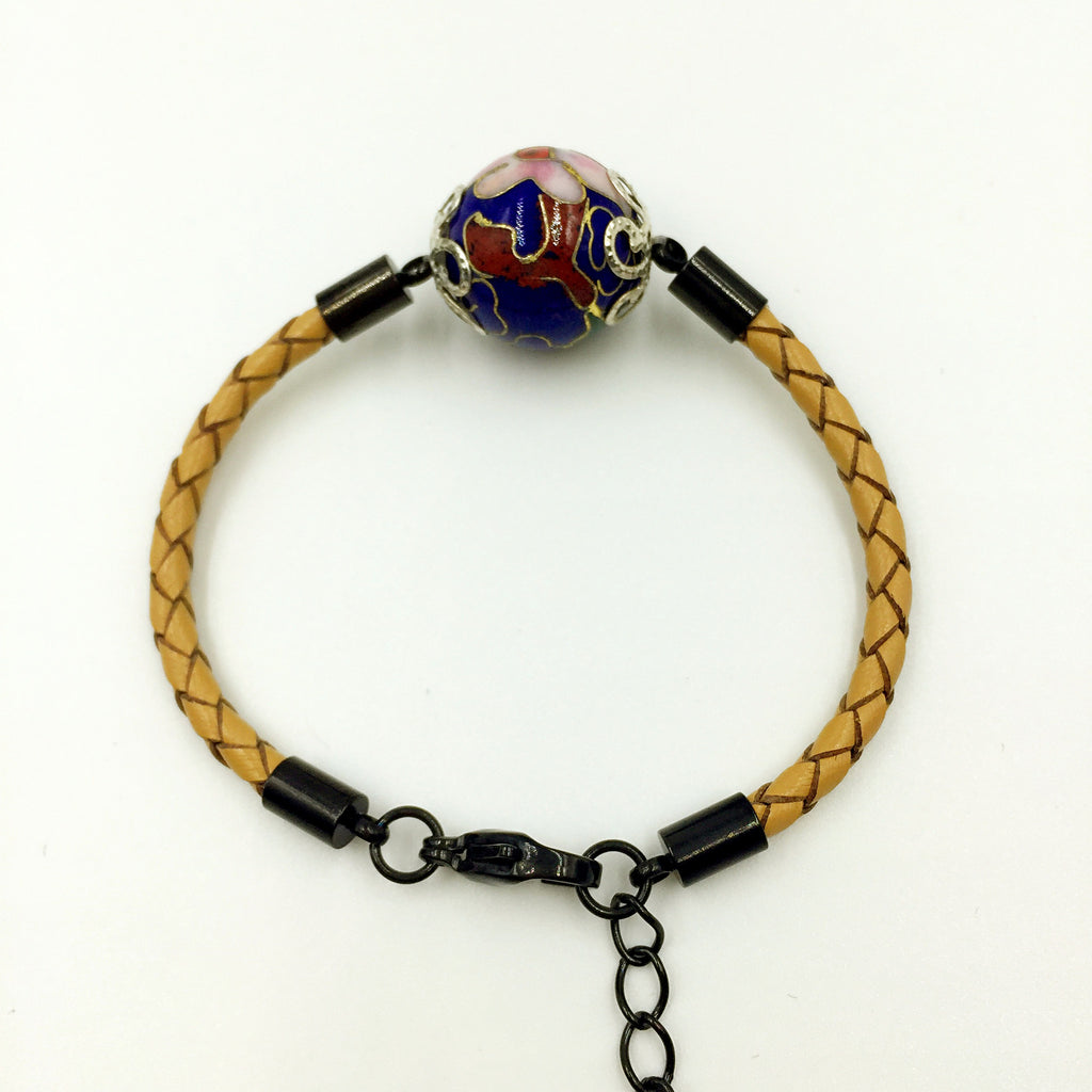 Single Navy Blue Bead on Beige Leather,  - MRNEIO LLC