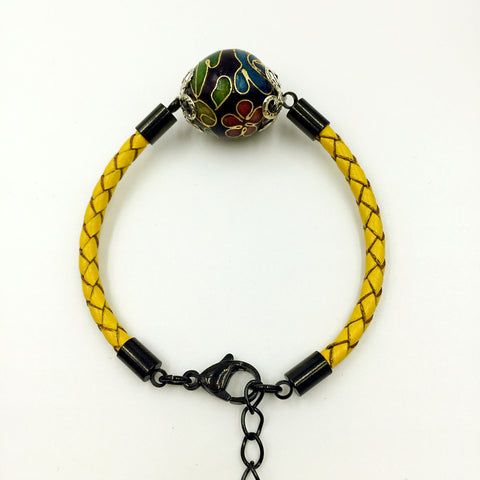 Single Dark Purple Bead on Lemon Leather,  - MRNEIO LLC
