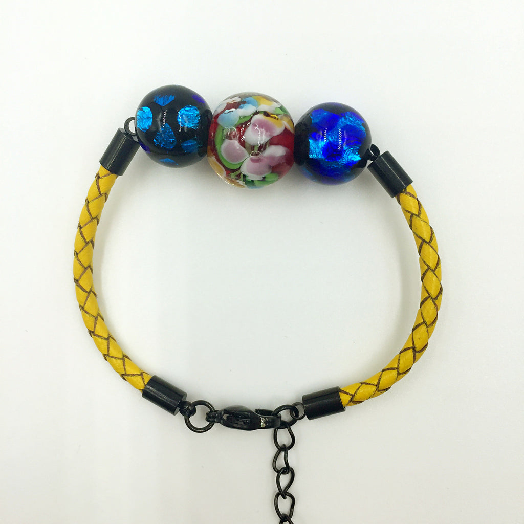 Triple Flower Red and Blue Beads on Yellow Leather,  - MRNEIO LLC