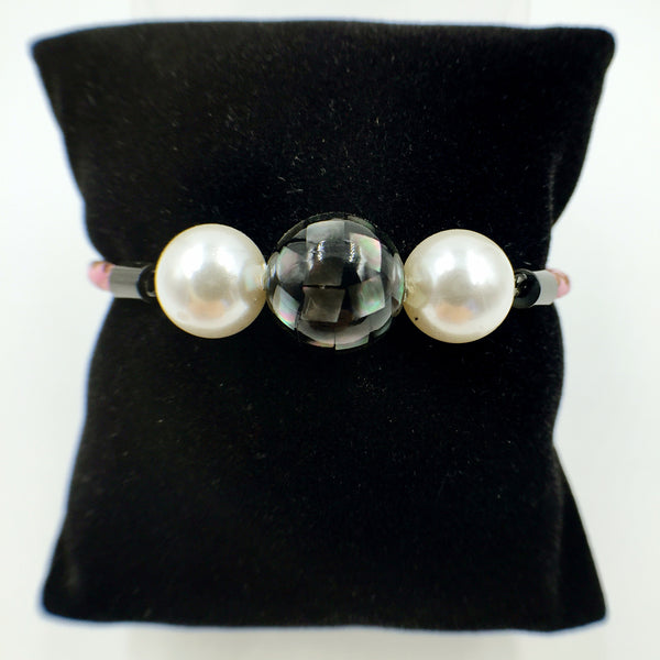 White Pearl Black Mother of Pearl Bead on Pink Leather