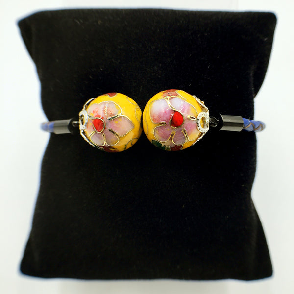 Twin Golden Yellow Beads on Navy Blue Leather