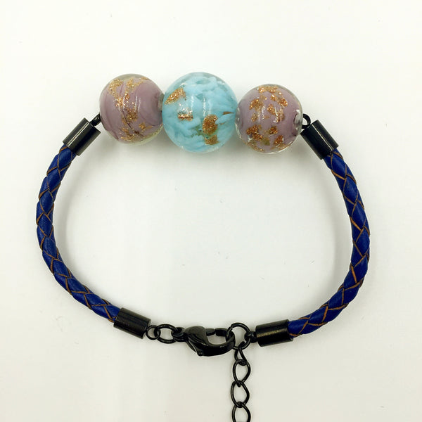 Triple Gold Leaf Light Blue and Purple Beads on Navy Blue Leather,  - MRNEIO LLC