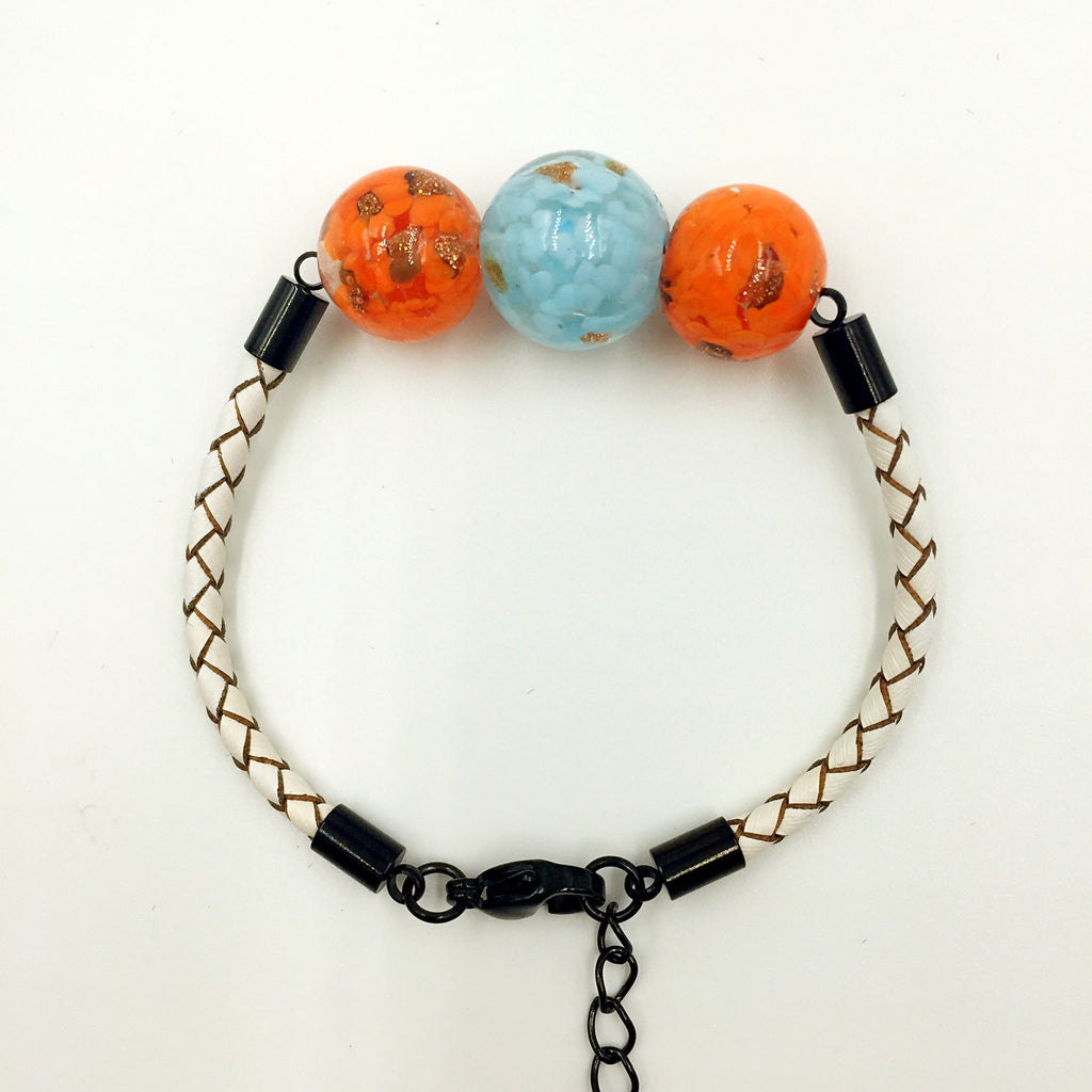 Triple Gold Leaf Light Blue and Orange Beads on White Leather,  - MRNEIO LLC
