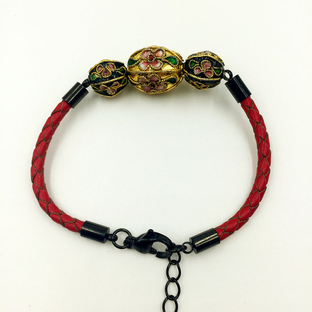Triple Gold and Black Beads on Red Leather,  - MRNEIO LLC