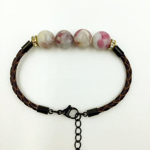 Faux Grey/Pink Gemstones on Brown Leather,  - MRNEIO LLC