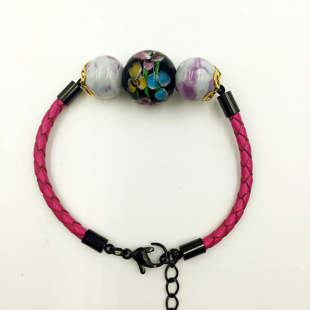 Triple Flower Black and Gemstone Beads on Rose Red Leather,  - MRNEIO LLC