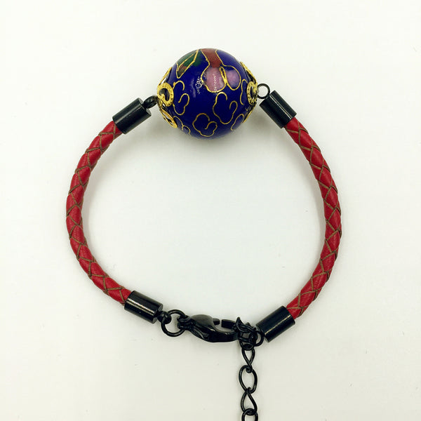 Single Navy Blue Bead on Red Leather,  - MRNEIO LLC