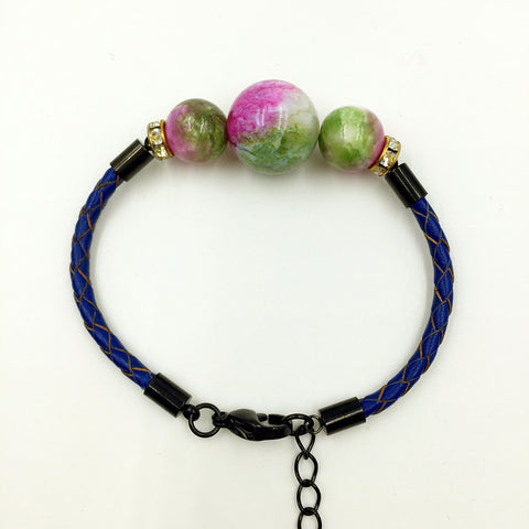 Faux Pink/Green Gemstones on Navy Blue Leather,  - MRNEIO LLC