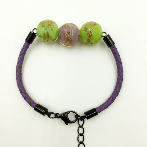 Triple Gold Leaf Purple and Green Beads on Purple Leather,  - MRNEIO LLC