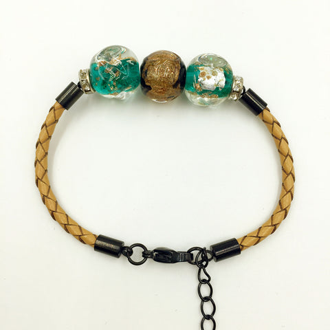 Triple Gold Leaf Brown and Green Beads on Yellow Leather,  - MRNEIO LLC