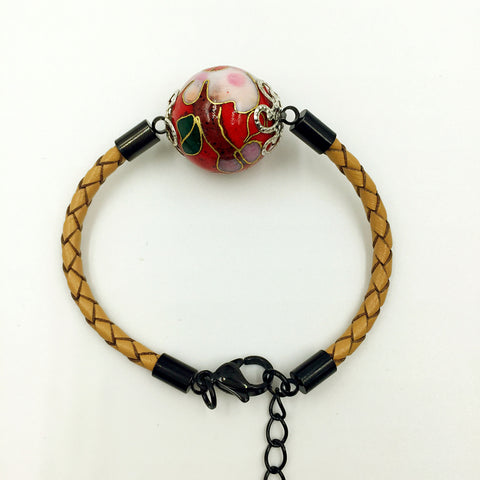 Single Red Bead on Beige Leather,  - MRNEIO LLC