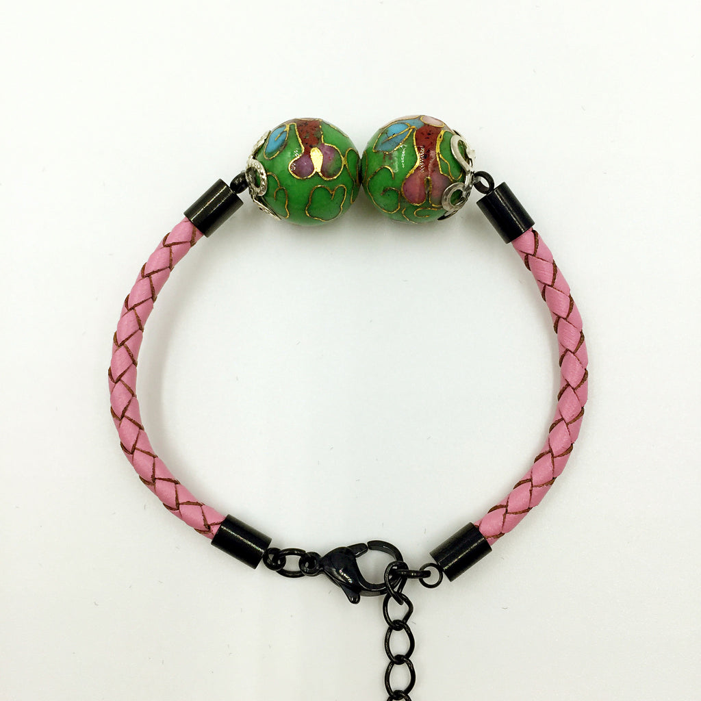 Twin Green Beads on Pink Leather,  - MRNEIO LLC