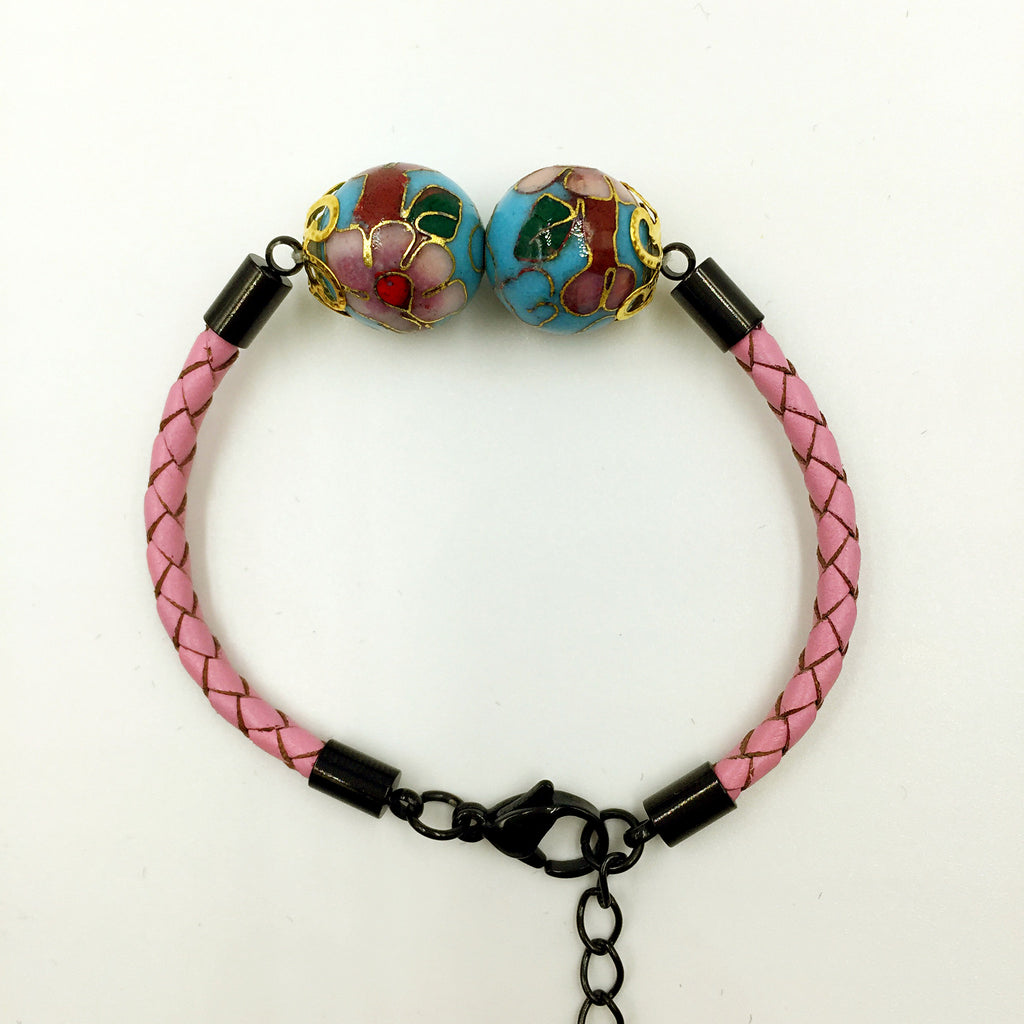 Twin Turquoise Beads on Pink Leather,  - MRNEIO LLC