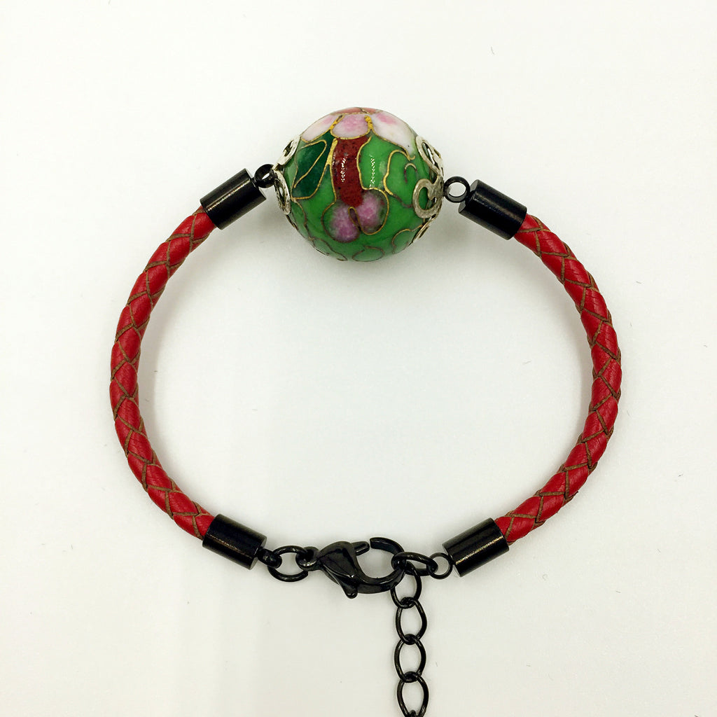 Single Green Bead on Red Leather,  - MRNEIO LLC