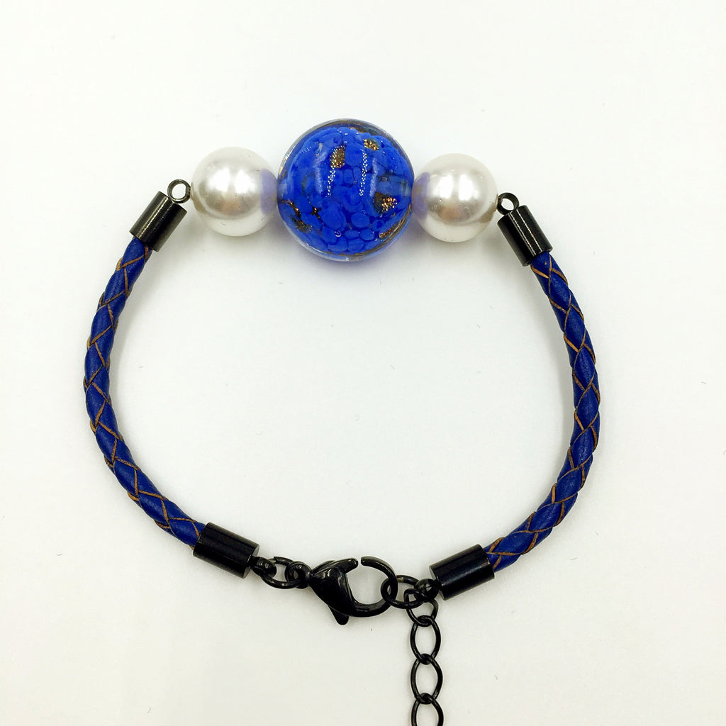 White Pearl Gold Leaf Blue Bead on Navy Blue Leather,  - MRNEIO LLC