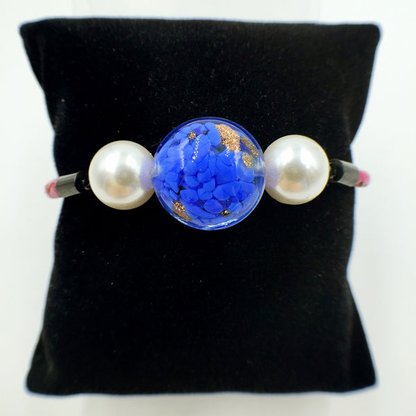 White Pearl Gold Leaf Blue Bead on Rose Red Leather,  - MRNEIO LLC