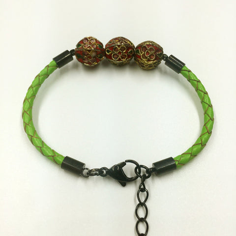 Triple Red Beads on Green Leather,  - MRNEIO LLC