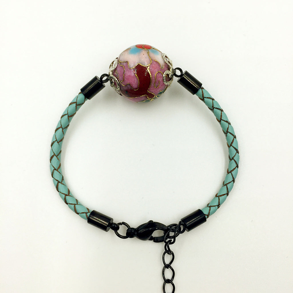 Single Lilac Bead on Turquoise Leather,  - MRNEIO LLC