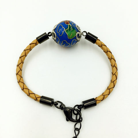 Single Medium Blue Bead on Beige Leather,  - MRNEIO LLC