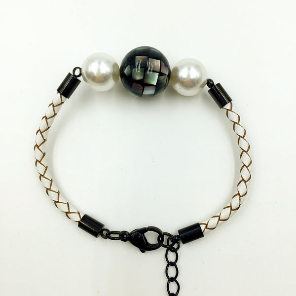 White Pearl Black Mother of Pearl Bead on White Leather,  - MRNEIO LLC