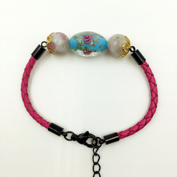 Triple Flower Sky Blue and Gemstone Beads on Rose Red Leather,  - MRNEIO LLC