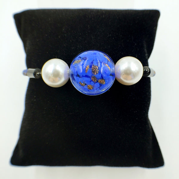 White Pearl Gold Leaf Blue Bead on Navy Blue Leather
