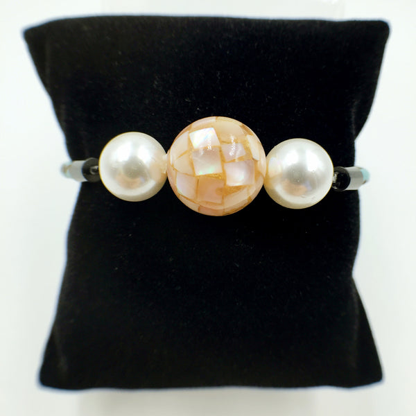White Pearl Flesh Pink Mother of Pearl Bead on Turquoise Leather,  - MRNEIO LLC