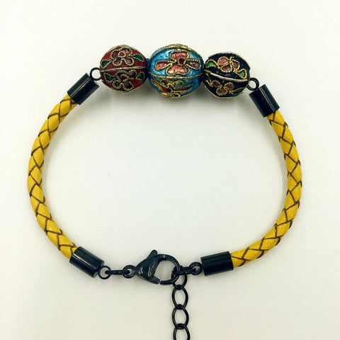 Triple Sky Blue, Red and Black Beads On Lemon Leather