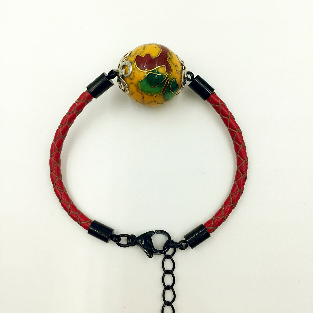 Single Golden Yellow Bead on Red Leather,  - MRNEIO LLC