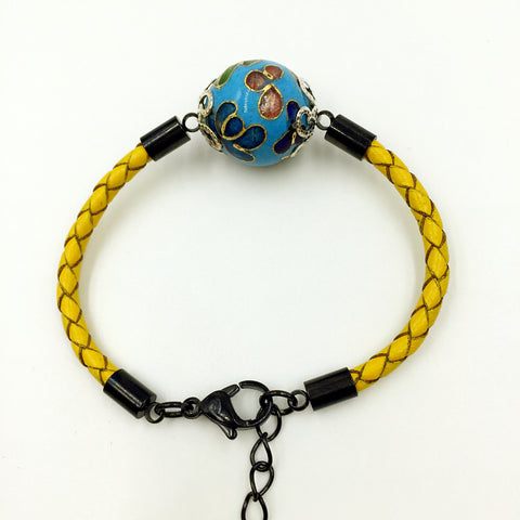 Single Sky Blue Bead on Lemon Leather,  - MRNEIO LLC