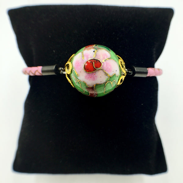 Single Green Bead on Pink Leather,  - MRNEIO LLC